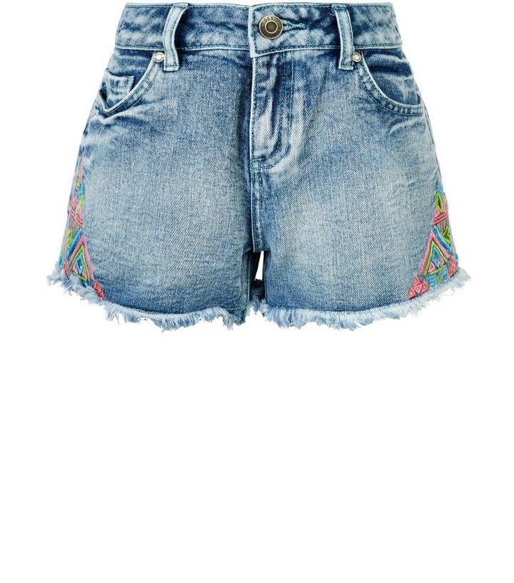 38d5e5d88f1 Teens Blue Embroidered Trim Denim Shorts