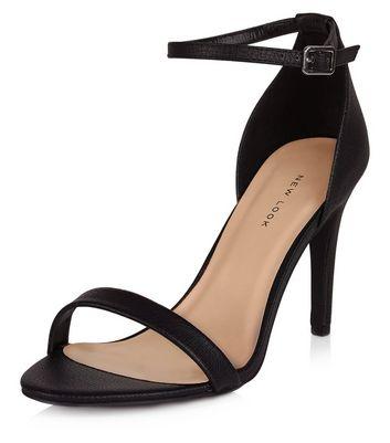 Black Ankle Strap Heels   New Look