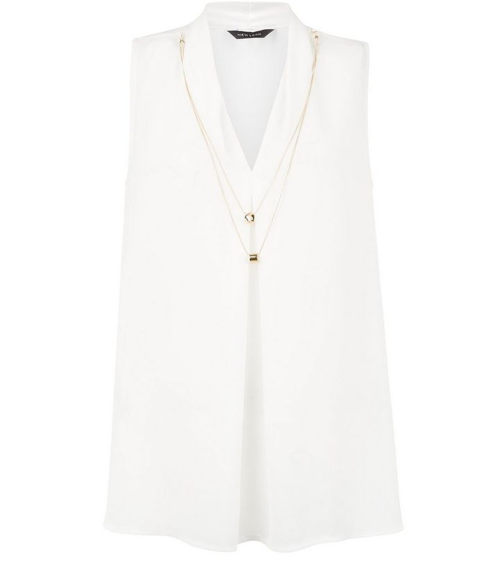 59d240564bb608 Cream V Neck Necklace Trim Shell Top | New Look