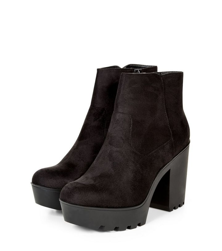 48b92fea526 Black Suedette Chunky Block Heel Ankle Boots Add to Saved Items Remove from  Saved Items