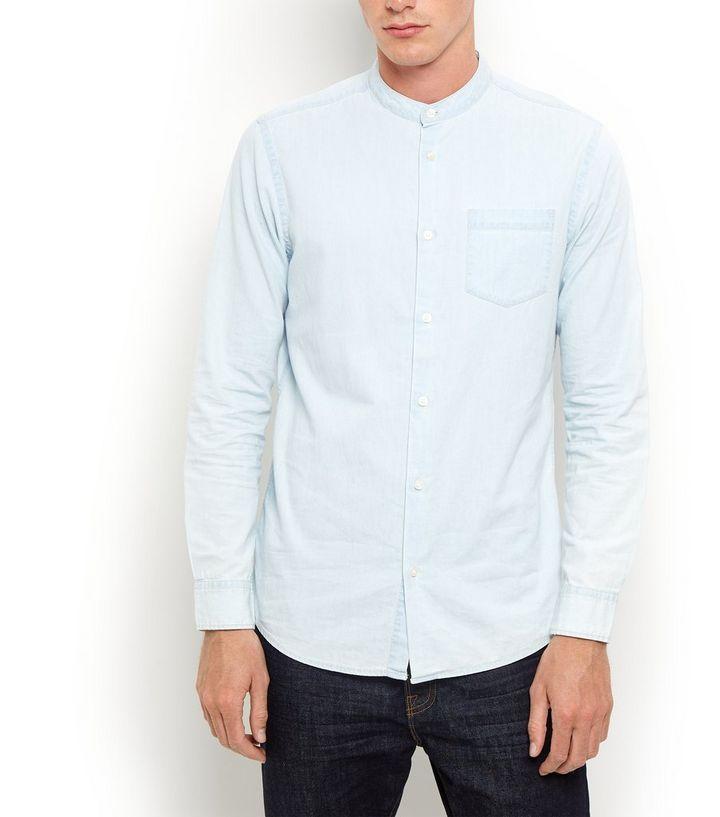 cf96c6981d5 Pale Blue Grandad Collar Long Sleeve Denim Shirt