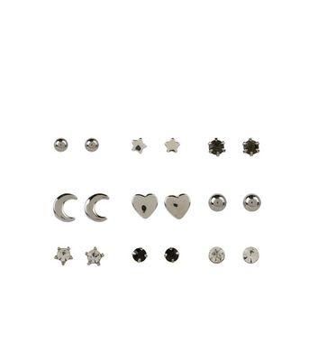 9 Pack Silver Mixed Mini Stud Earrings New Look