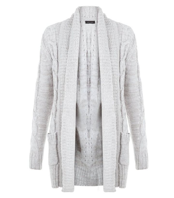 d54f0a4d889 Grey Cable Knit Cardigan