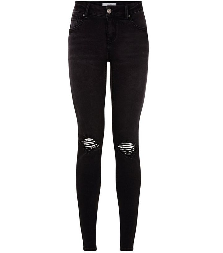 5519cdf0154 Black Busted Knee Skinny Jeans