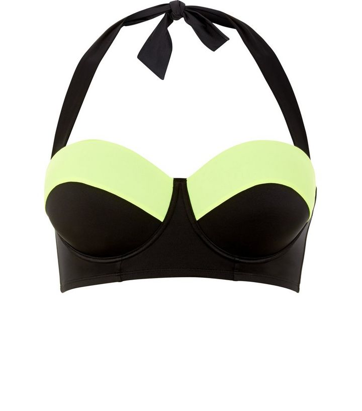 8570b6ee480a7 Plus Size Black Colour Block Bikini Top | New Look