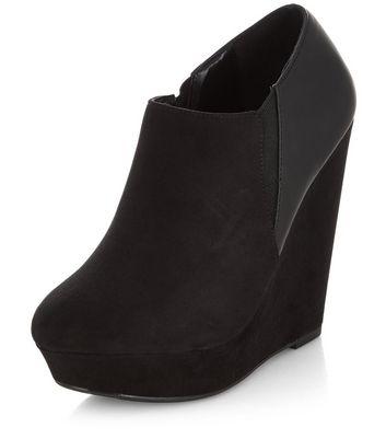 Black Platform Wedge Shoe Boots | New Look
