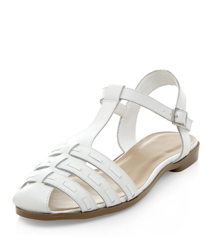 c87c90033a Wide Fit White Leather Woven T-Bar Sandals | New Look