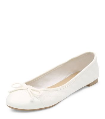 White Quilted Ballet Pumps | New Look