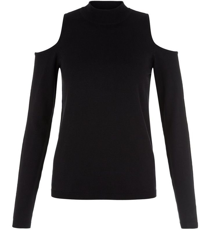 cf11b4bbfb2460 Black Cold Shoulder Polo Neck Jumper
