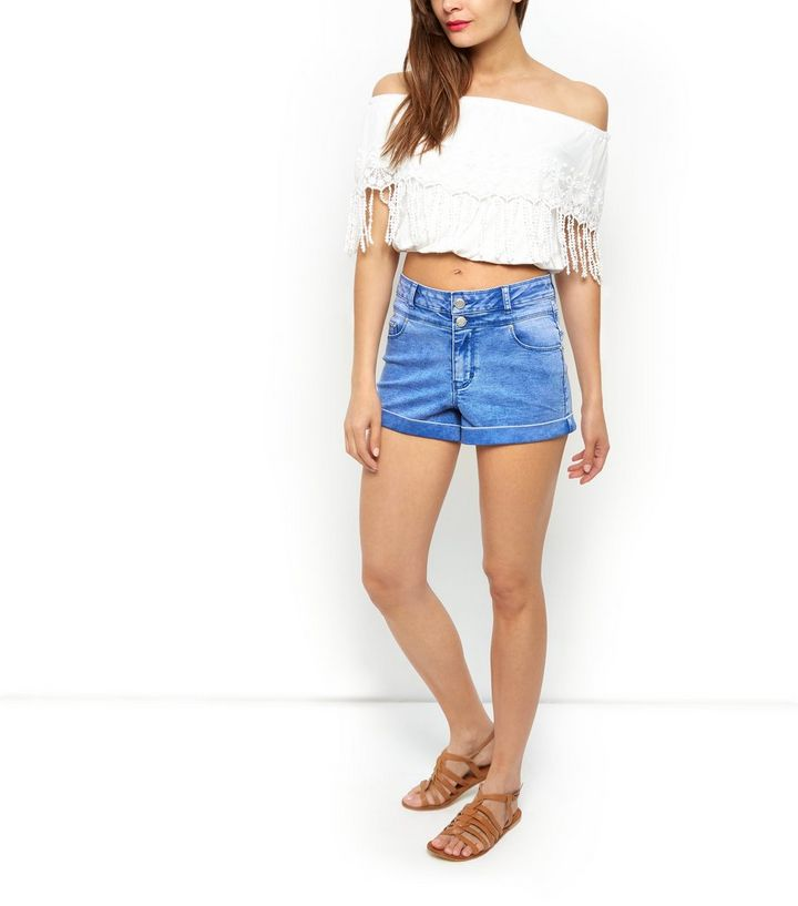 6bc3aa0bfaf55b ... White Embroidered Tassel Trim Bardot Neck Crop Top. ×. ×. ×. Shop the  look