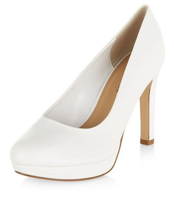 Wide Fit White Court Shoes | New Look