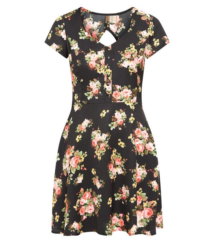 79765f0ca02 Innocence Black Floral Print Button Front Tea Dress