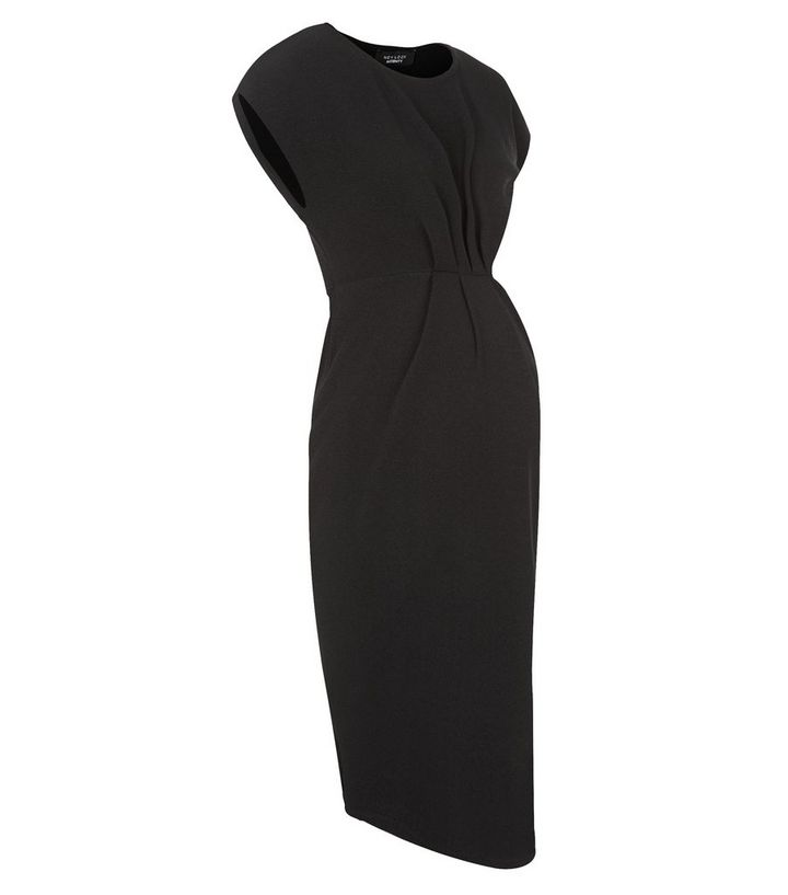 d2ed30b11ce Maternity Black Pleated Front Cap Sleeve Dress