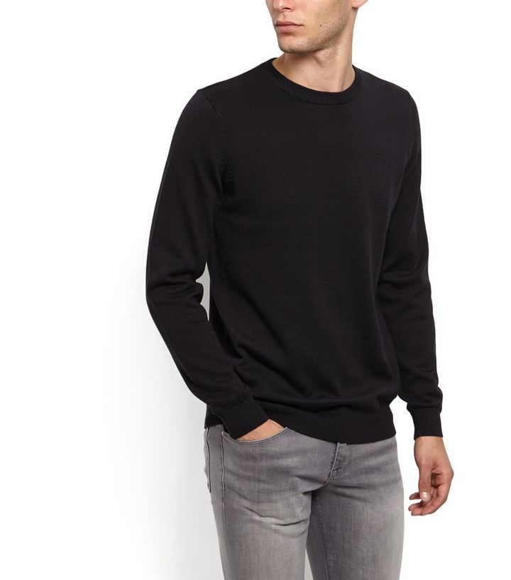 3a07e6cb1c7ffd Black Cotton Basic Crew Neck Jumper | New Look