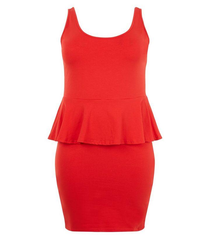 Plus Size Red Peplum Dress New Look