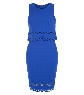 Blue Laser Cut Out Hem Double Layered Bodycon Dress