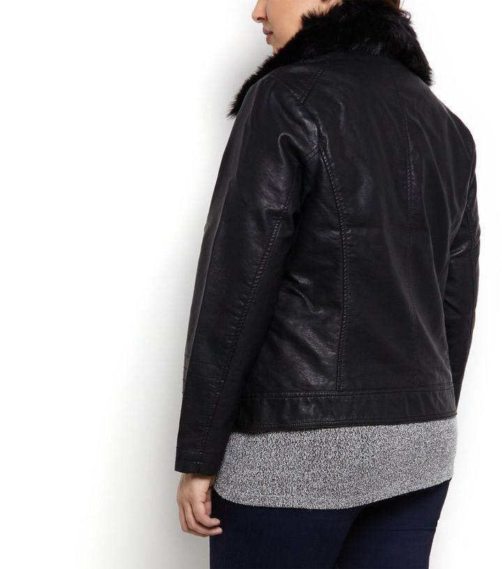 b8d603d54b3 ... Plus Size Black Faux Fur Collar Biker Jacket. ×. ×. ×. Shop the look