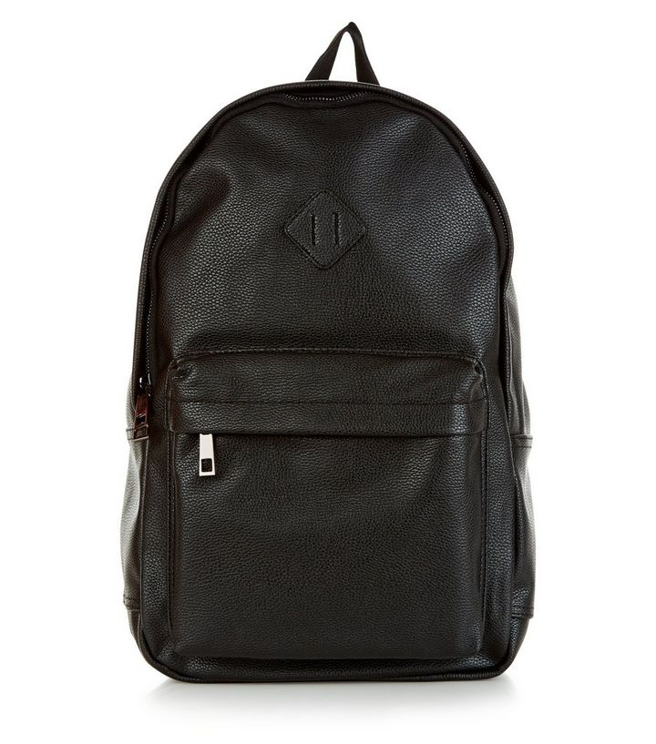 c9cc42a3e Black Leather-Look Backpack | New Look