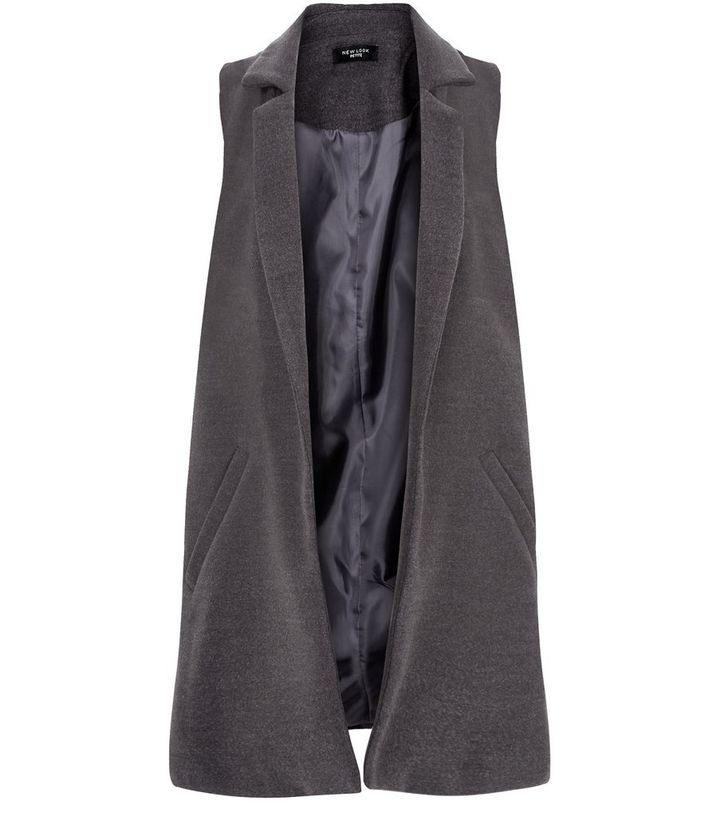 3509822cc98481 Petite Grey Double Pocket Sleeveless Coat