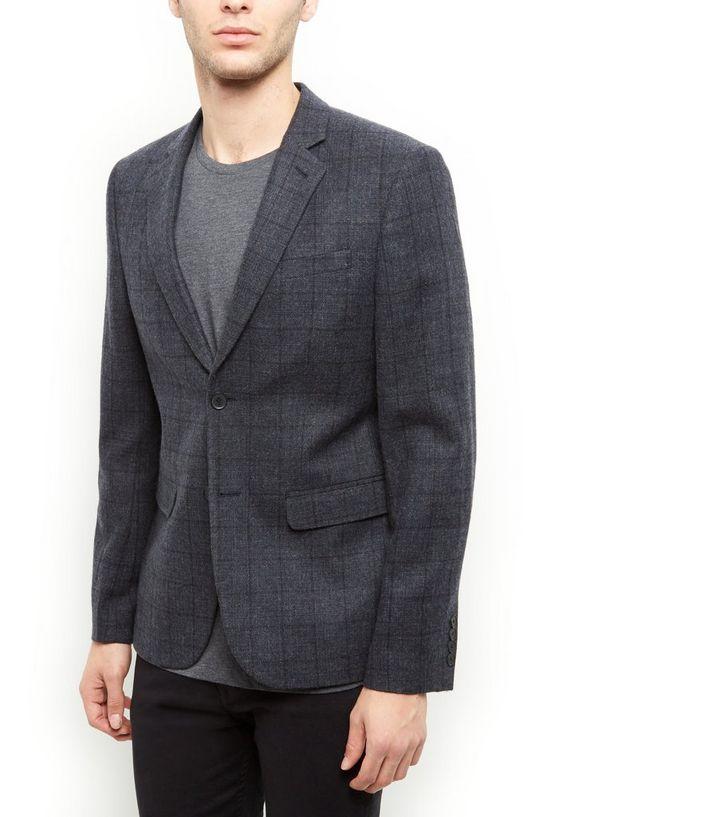 Grey Textured Check Blazer New Look