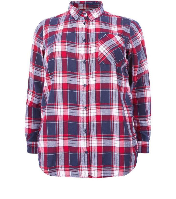71041bbeceead Plus Size Red Check Long Sleeve Shirt