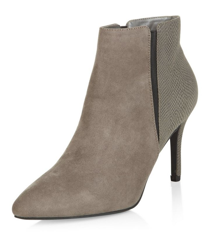 ca66bebb523 Grey Snakeskin Print Panel Heeled Ankle Boots Add to Saved Items Remove  from Saved Items