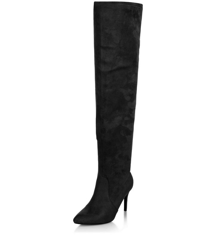 66f57383175 Black Pointed Over The Knee Heeled Boots