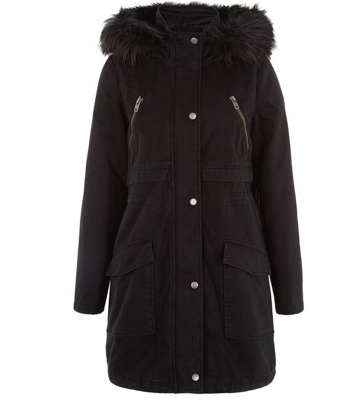 ad308a299390 Black Longline Faux Fur Trim Hooded Parka | New Look
