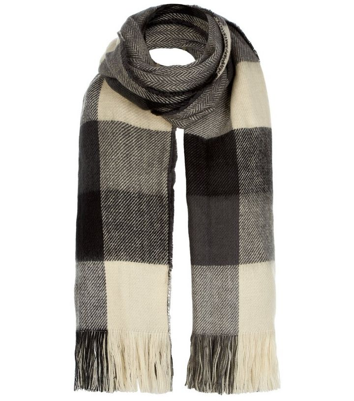 81776e886c72f Grey Check Oversized Scarf | New Look