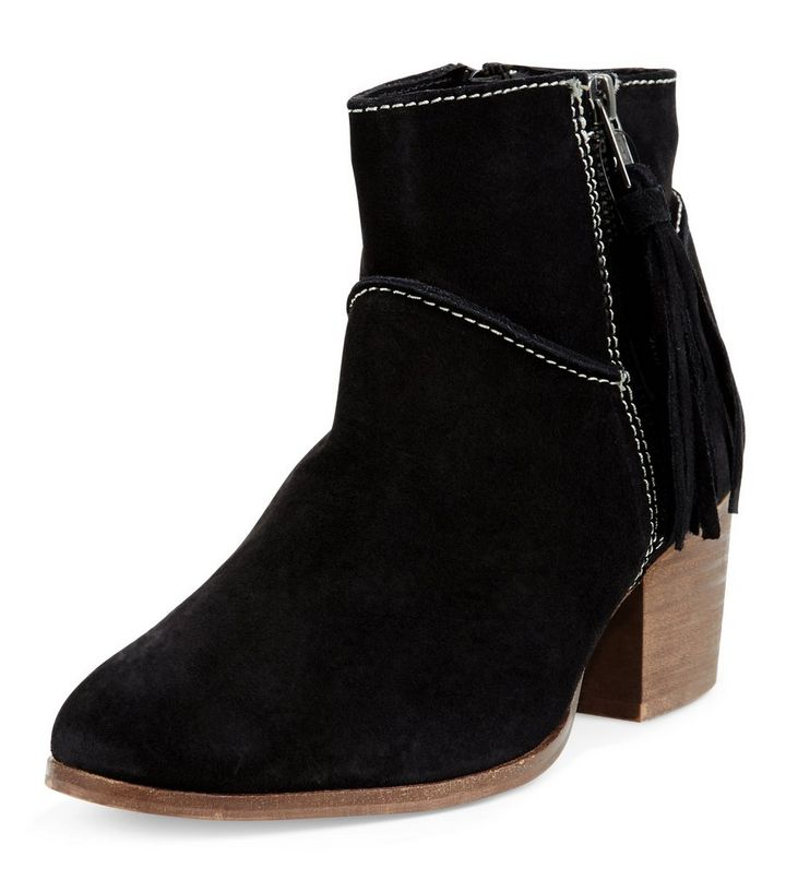 73ce2ca52ac Wide Fit Black Leather Tassel Side Block Heel Ankle Boots