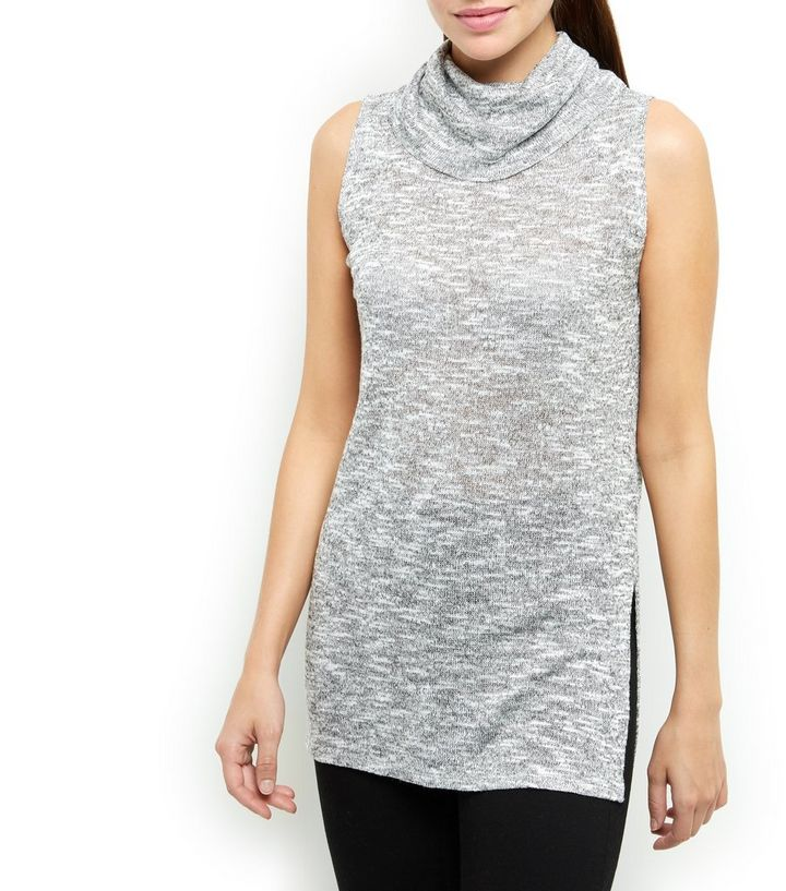 Grey Fine Knit Cowl Neck Split Side Vest | New Look
