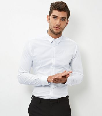 White Stretch Super Slim Fit Long Sleeve Shirt New Look