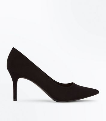 Black Suedette Mid Heel Pointed Court Shoes
