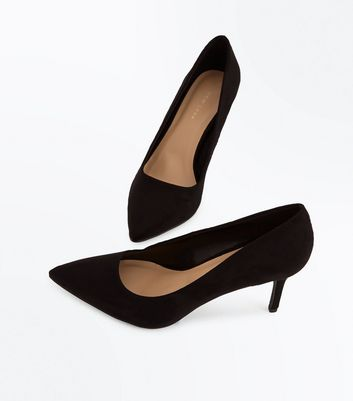 Black Suedette Mid Heel Pointed Court Shoes New Look