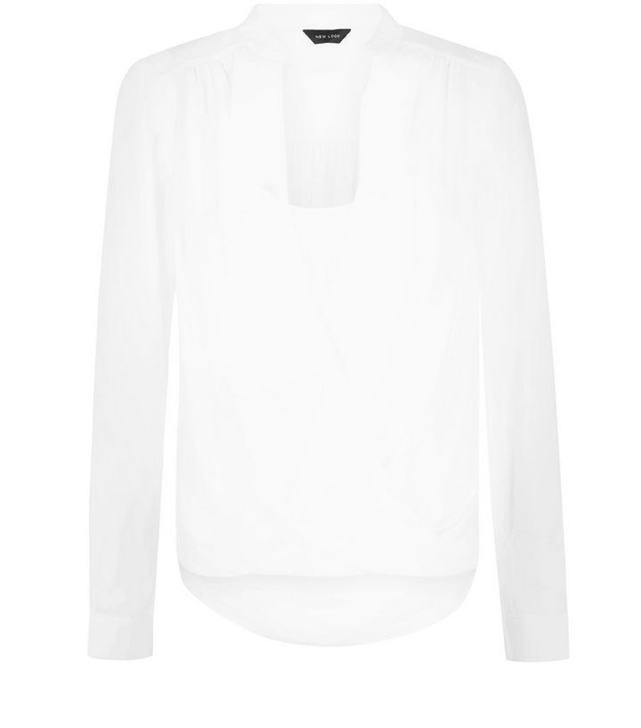 ea4ec2d2d4b03 Cream 2 in 1 Wrap Front Step Hem Long Sleeve Top | New Look