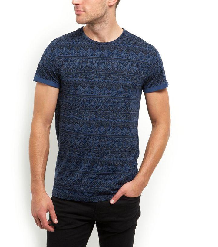 8e264a3b Black and Navy Aztec Print T-Shirt | New Look
