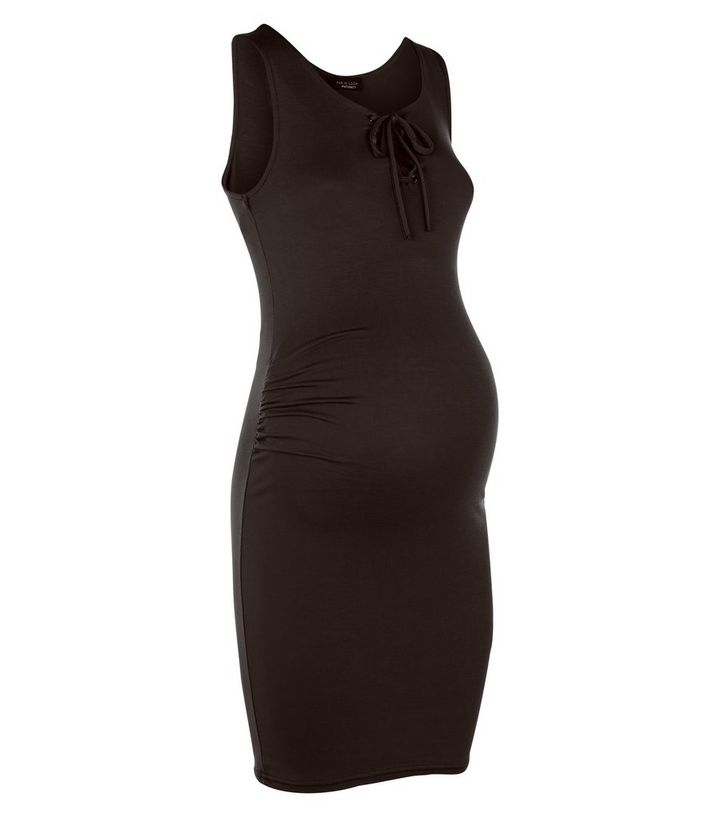 f907f9b2d1 Maternity Black Tie Front Midi Dress