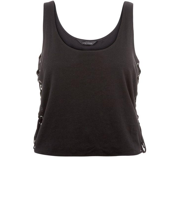 b84a1a6add651a Black Lace Up Side Crop Top