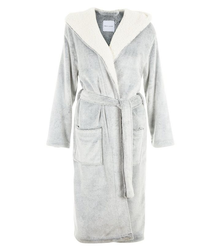 Grey Fluffy Dressing Gown | New Look