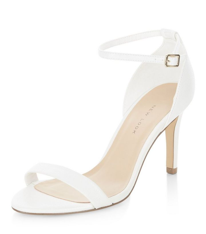 73a0358689a Wide Fit White Ankle Strap Heels