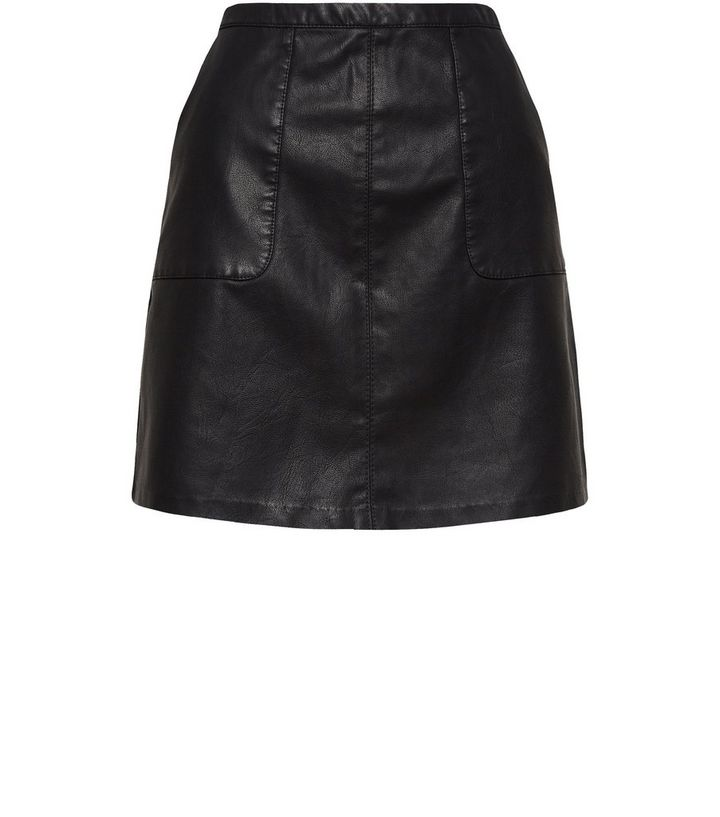 6fcddf522 Black Leather-Look Patch Pocket A-Line Skirt | New Look