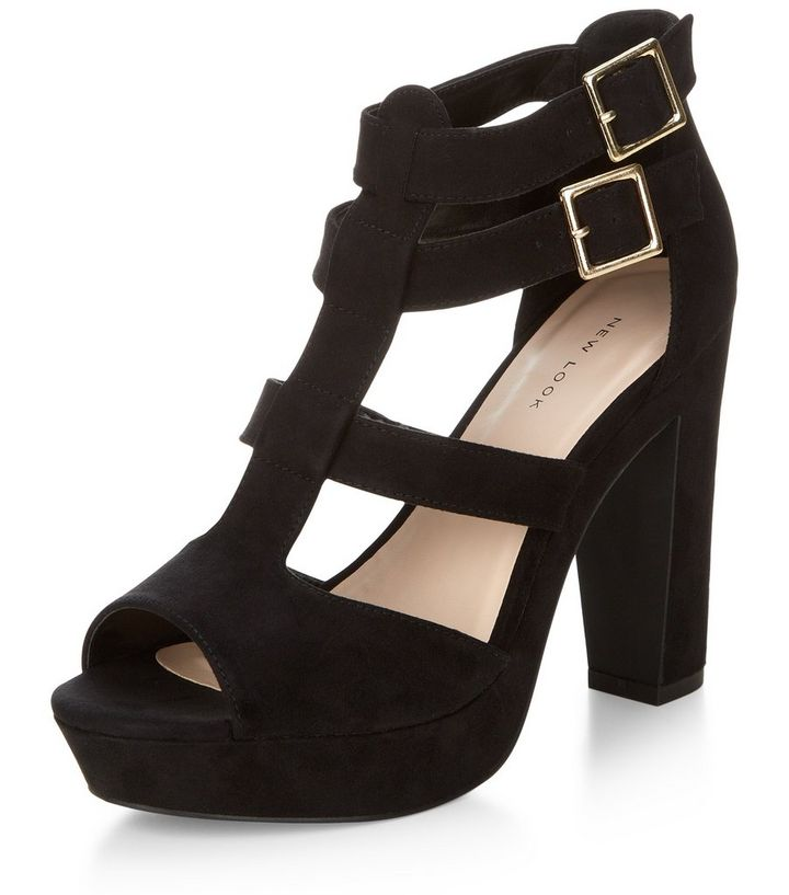 e72fa93ac5a8 Black Double Buckle Gladiator Ankle Strap Sandals