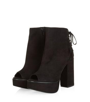 black heeled boots peep toe