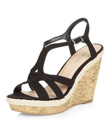 avec Ajouter Supprimer en Chaussures noires liège compensées la brides Wishlist Wishlist à la de dCrWQxBoe