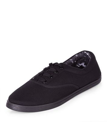 Teens Black Lace Up Plimsolls | New Look