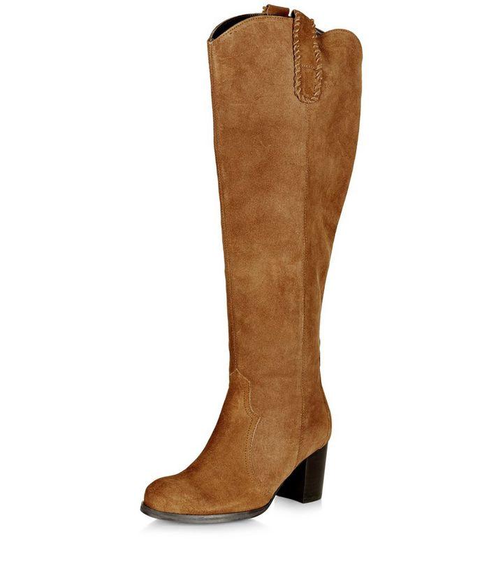 643b62542d91 Wide Fit Tan Suede Block Heel Knee High Boots | New Look