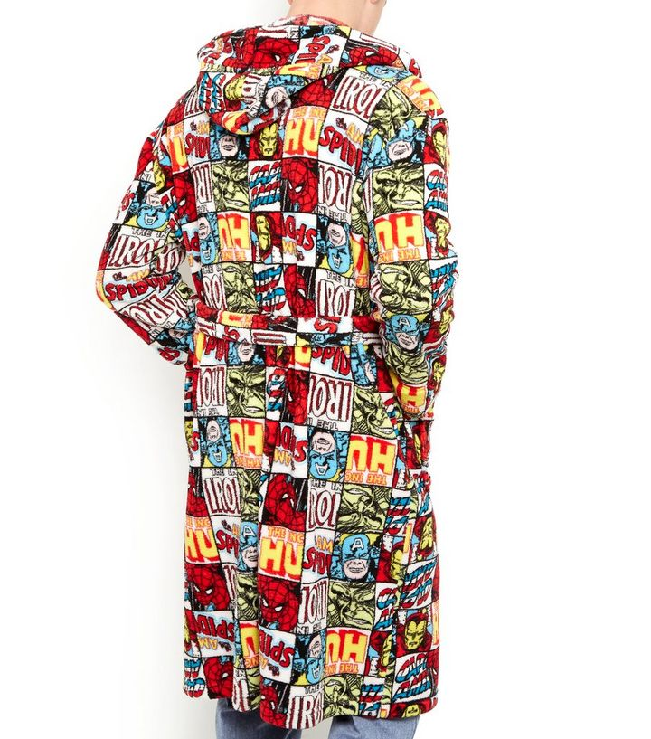 Multicoloured Marvel Print Dressing Gown | New Look