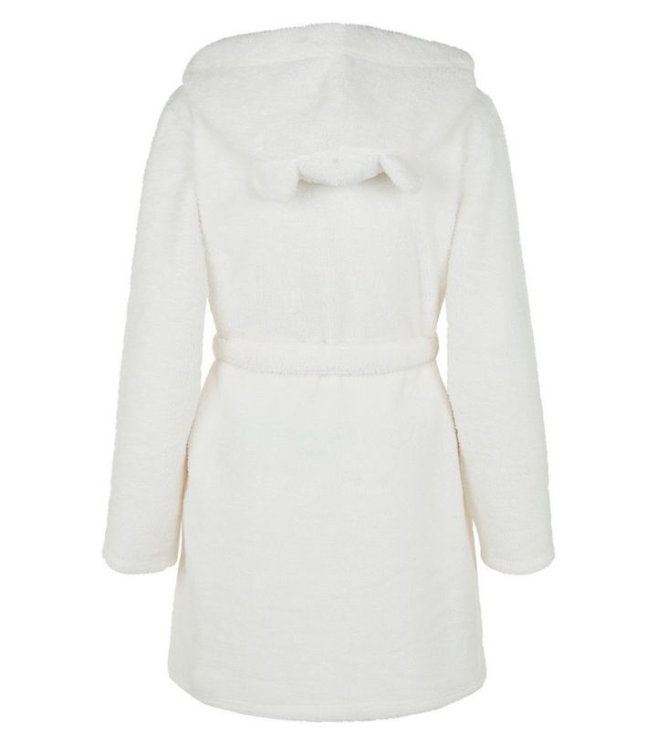 Teens Cream Fluffy Hooded Dressing Gown | New Look