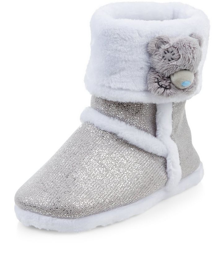 00fb6f2859ad Me To You Grey Glitter Slipper Boots | New Look