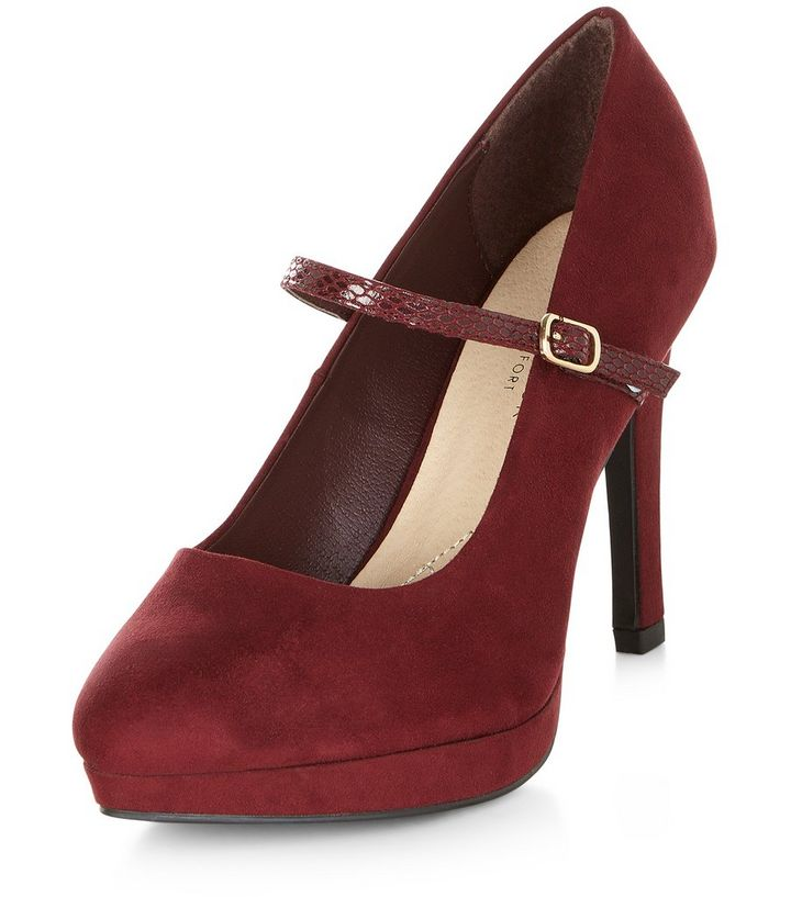 84a40bc0bfaa Wide Fit Burgundy Comfort Mary Jane Court Shoes